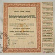 Coleccionismo Acciones Españolas: ACCIÓN MOTORMOVIL, SA - 5000 PESETAS - AÑO 1975 - BARCELONA. Lote 43304669