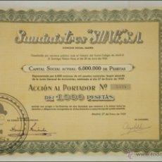 Coleccionismo Acciones Españolas: ACCIÓN SUMINISTROS SHAG, SA - 1000 PESETAS - AÑO 1959 - MADRID. Lote 43304936