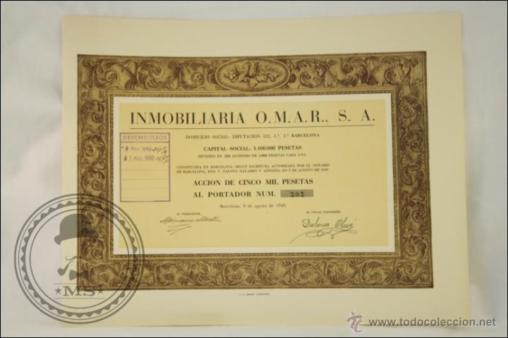 ACCIÓN INMOBILIARIA OMAR, SA - 5000 PESETAS - AÑO 1949 - BARCELONA (Coleccionismo - Acciones Españolas)