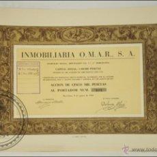 Coleccionismo Acciones Españolas: ACCIÓN INMOBILIARIA OMAR, SA - 5000 PESETAS - AÑO 1949 - BARCELONA. Lote 43304957
