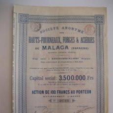 Coleccionismo Acciones Españolas: ACCIÓN ALTOS HORNOS FORJAS Y ACERÍAS DE MÁLAGA. AÑO 1899.. Lote 43438550