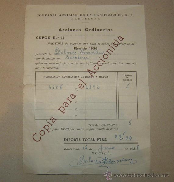 DOCUMENTO ACCIONES ORDINARIAS COMPAÑIA AUXILIAR DE LA PANIFICACIÓN, S.A. (Coleccionismo - Acciones Españolas)