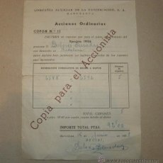 Coleccionismo Acciones Españolas: DOCUMENTO ACCIONES ORDINARIAS COMPAÑIA AUXILIAR DE LA PANIFICACIÓN, S.A.. Lote 43623365
