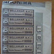 Coleccionismo Acciones Españolas: 7 CUPONES BELLAMAR S.A.. Lote 43654633