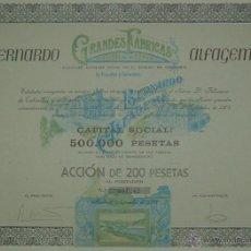 Coleccionismo Acciones Españolas: BERNARDO ALFAGEME GRANDES FÁBRICAS DE PESCADOS Y SALAZONES, CANDÁS (ASTURIAS) / VIGO (1908). Lote 55006796