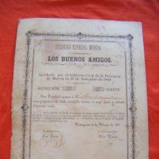Coleccionismo Acciones Españolas: JML ACCIÓN MINAS MURCIA CARTAGENA LOS BUENOS AMIGOS, Nº 19, 1ER CUARTO. 1881. VER FOTOS.. Lote 197938821