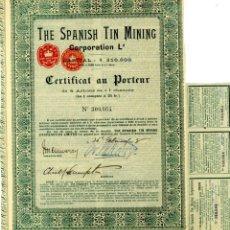 Coleccionismo Acciones Españolas: GALICIA THE SPANISH TIN MINING LONDRES FEBRERO 1.907. Lote 43902812