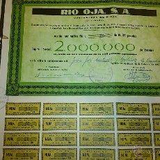 Coleccionismo Acciones Españolas: ACCIONES DE RIO OJA S. A. CON DOMICILIO EN CASTAÑARES DE RIOJA, LOGROÑO.. Lote 44011851