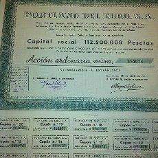 Coleccionismo Acciones Españolas: ACCIONES DE PORTLAND DE EBRO, S.A. CON DOMICILIO FISCAL EN BARCELONA.. Lote 44011917