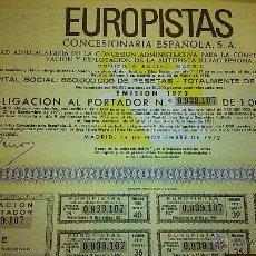 Coleccionismo Acciones Españolas: ACCIONES DE LA EUROPISTAS. CONCESIONARIA ESPAÑOLA, S. A. DOMICILIO SOCIAL EN MADRID.. Lote 44012056