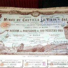 Coleccionismo Acciones Españolas: ACCION MINAS CASTILLA LA VIEJA Y JAEN AÑO 1902 ( CON 38 CUPONES ). Lote 44895632
