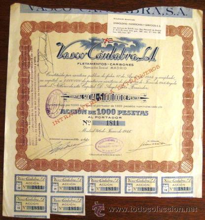 ACCIÓN. VASCO CÁNTABRA. MADRID 1948. ENVIO CERTIFICADO INCLUIDO. (Coleccionismo - Acciones Españolas)