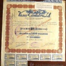Coleccionismo Acciones Españolas: ACCIÓN. VASCO CÁNTABRA. MADRID 1948. ENVIO CERTIFICADO INCLUIDO.. Lote 44163454