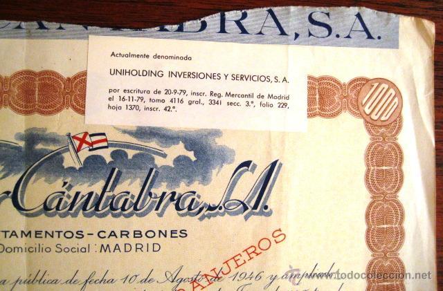 Coleccionismo Acciones Españolas: ACCIÓN. VASCO CÁNTABRA. MADRID 1948. ENVIO CERTIFICADO INCLUIDO. - Foto 2 - 44163454