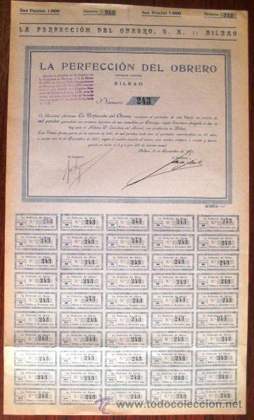 ACCIÓN. LA PERFECCIÓN DEL OBRERO. BILBAO 1926. ENVIO CERTIFICADO INCLUIDO. (Coleccionismo - Acciones Españolas)