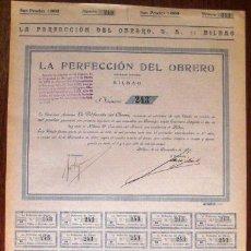 Coleccionismo Acciones Españolas: ACCIÓN. LA PERFECCIÓN DEL OBRERO. BILBAO 1926. ENVIO CERTIFICADO INCLUIDO.. Lote 44163620
