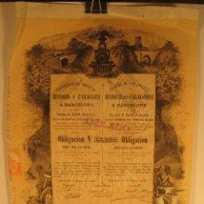 Coleccionismo Acciones Españolas: ACCIÓN FERROCARRILES DIRECTOS MADRID Y ZARAGOZA A BARCELONA.. Lote 44368319