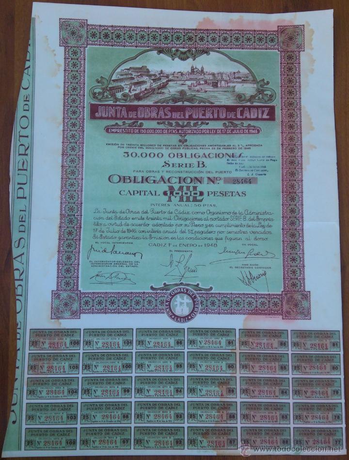 PRECIOSA OBLIGACION (ACCION) - JUNTA DE OBRAS DEL PUERTO DE CADIZ - CADIZ 1º. DE ENERO DE 1948 (Coleccionismo - Acciones Españolas)