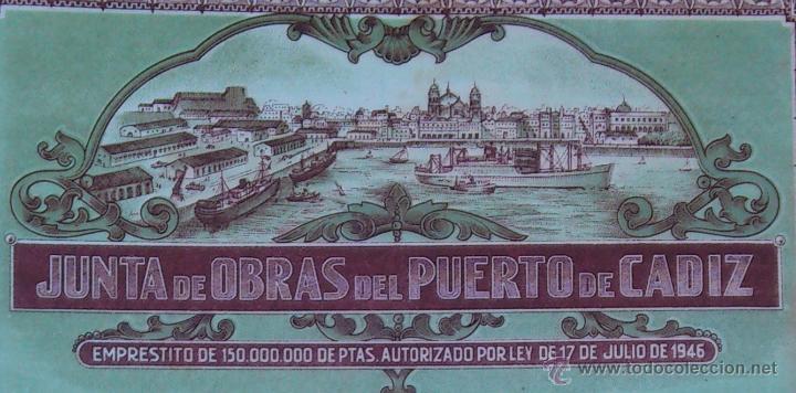 Coleccionismo Acciones Españolas: PRECIOSA OBLIGACION (ACCION) - JUNTA DE OBRAS DEL PUERTO DE CADIZ - CADIZ 1º. DE ENERO DE 1948 - Foto 2 - 44425926