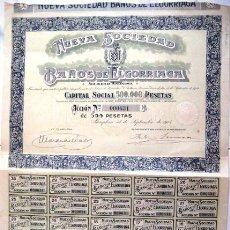 Coleccionismo Acciones Españolas: ACCIÓN. NUEVA SOCIEDAD DE BAÑOS ELGORRIAGA. PAMPLONA 1918. .. Lote 44638661
