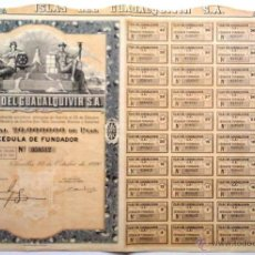 Collectionnisme Actions Espagne: ISLAS DEL GUADALQUIVIR S. A. CÉDULA DE FUNDADOR.. Lote 210492556