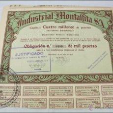 Coleccionismo Acciones Españolas: ACCIÓN INDUSTRIAL MONTALFITA SA - 1000 PESETAS - AÑO 1935 - BARCELONA. Lote 44942811