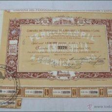 Colecionismo Ações Espanholas: ACCIÓN PRODUCTOS COMPAÑÍA FERROCARRIL AMOREBIETA A GUERNICA Y LUNO - 500 PESETAS - AÑO 1869 - BILBAO. Lote 44944206