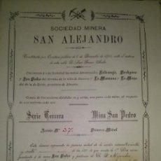Coleccionismo Acciones Españolas: ACCION SOCIEDAD MINERA SAN ALEJANDRO SERIE 3ª MINA SAN PEDRO AGUILAS MURCIA 1900. Lote 45113382