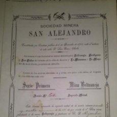 Coleccionismo Acciones Españolas: ACCION SOCIEDAD MINERA SAN ALEJANDRO SERIE 1ª MINA BELTRANEJA AGUILAS MURCIA 1900. Lote 45113399