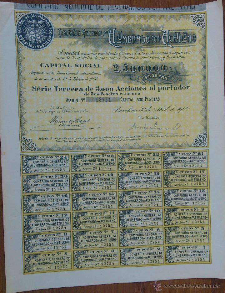 ACCION COMPAÑIA GENERAL DE ALUMBRADO POR ACETILENO - BARCELONA 30 DE ABRIL DE 1906 (Coleccionismo - Acciones Españolas)