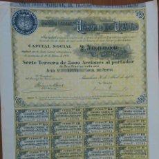 Coleccionismo Acciones Españolas: ACCION COMPAÑIA GENERAL DE ALUMBRADO POR ACETILENO - BARCELONA 30 DE ABRIL DE 1906. Lote 45222560