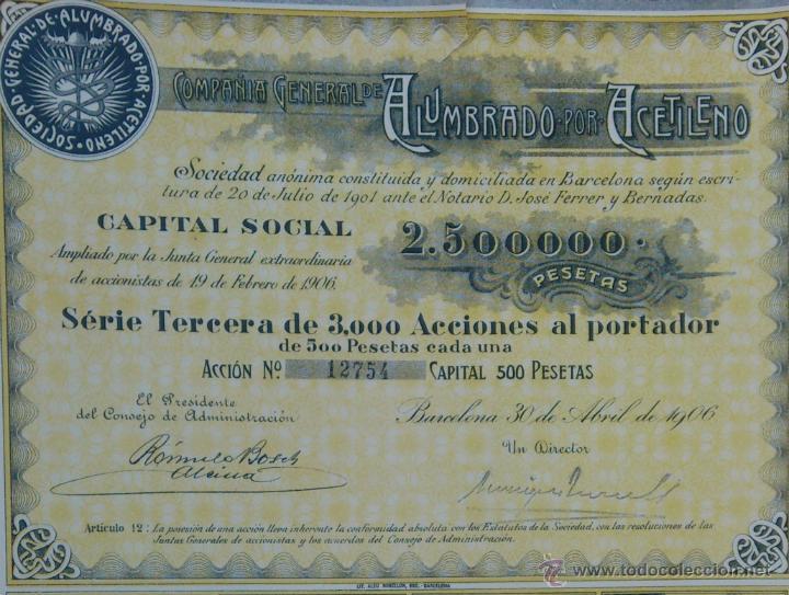 Coleccionismo Acciones Españolas: ACCION COMPAÑIA GENERAL DE ALUMBRADO POR ACETILENO - BARCELONA 30 DE ABRIL DE 1906 - Foto 2 - 45222560