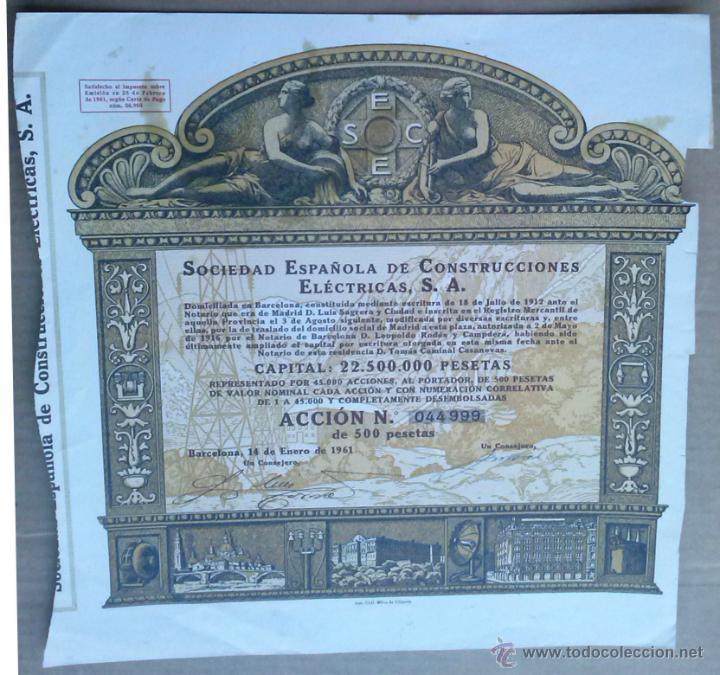 ACCION SOCIEDAD ESPAÑOLA DE CONSTRUCCIONES ELECTRICAS - BARCELONA 14-ENERO-1961 (Coleccionismo - Acciones Españolas)