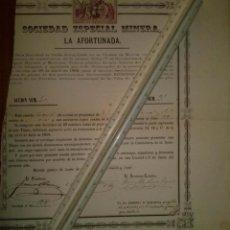 Coleccionismo Acciones Españolas: SOCIEDAD ESPECIAL MINERA LA AFORTUNADA MINA REGENERADA TOTANA MURCIA 1881. Lote 45260145