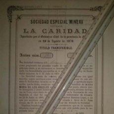 Coleccionismo Acciones Españolas: SOCIEDAD ESPECIAL MINERA LA CARIDAD MINA MARIA DE LOS ANGELES CUEVAS CARTAGENA MURCIA 1870. Lote 45260165