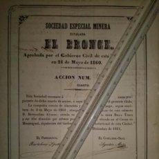 Coleccionismo Acciones Españolas: SOCIEDAD ESPECIAL MINERA EL BRONCE CARTAGENA MURCIA 1861. Lote 45260181