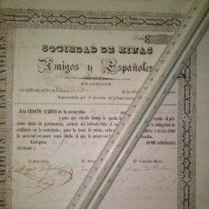 Coleccionismo Acciones Españolas: SOCIEDAD DE MINAS AMIGOS Y ESPAÑOLES MINA CUATRO SANTOS 1851 CARTAGENA MURCIA. Lote 45260849