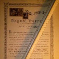 Coleccionismo Acciones Españolas: RARA ACCION DE LA SOCIEDAD MINERA MIGUEL FERRERO LA UNION MURCIA 1899. Lote 45268329