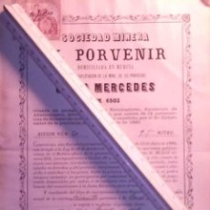 Coleccionismo Acciones Españolas: SOCIEDAD MINERA EL PORVENIR MINA REINA MERCEDES DE TOTANA MURCIA 1881. Lote 45561848