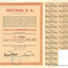Coleccionismo Acciones Españolas: ACCIÓN INDYCOM, S.A. (EMPRESA INMOBILIARIA). 10 ACCIONES ORDINARIAS. MADRID, 1969. Lote 45575812