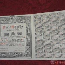 Coleccionismo Acciones Españolas: ACCION UNION ORUJERA -ACEITE-PRIEGO DE CORDOBA- AÑO 1938. Lote 45692682