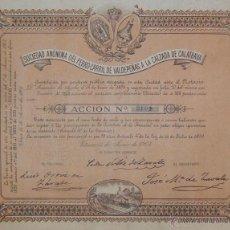 Coleccionismo Acciones Españolas: FERROCARRIL DE VALDEPEÑAS A LA CALZADA DE CALATRAVA, CIUDAD REAL (1903) EMISIÓN:1850 ACCIONES. Lote 45773877