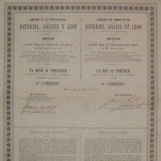 Coleccionismo Acciones Españolas: COMPAÑÍA DE LOS FERROCARRILES DE ASTURIAS, GALICIA Y LEÓN EN LIQUIDACIÓN (1890). Lote 45787089
