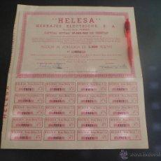 Coleccionismo Acciones Españolas: ACCION AL PORTADOR DE HERRAJES ELECTRICOS S.A - HELESA - 1969 ACCIONES CON TODOS SUS 20 CUPONES. Lote 45875137