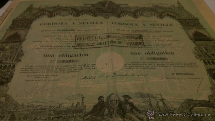 ACCION OBLIGACION FERROCARRIL CORDOBA A SEVILLA. 1858. (Coleccionismo - Acciones Españolas)