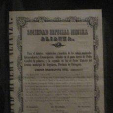 Coleccionismo Acciones Españolas: SOCIEDAD ESPECIAL MINERA ALIANZA DE ARGENTERA-TARRAGONA- REUS 1860. Lote 46350513
