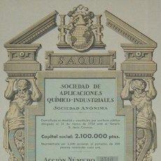 Coleccionismo Acciones Españolas: SOCIEDAD DE APLICACIONES QUÍMICO-INDUSTRIALES SAQUI, MADRID (1934). Lote 46367222