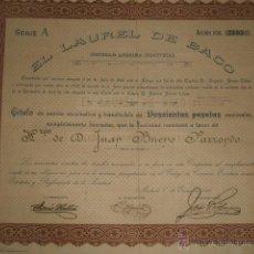 Coleccionismo Acciones Españolas: ACCION CERVEZAS EL LAUREL DE BACO MADRID 1924 CERVEZA. Lote 46403160