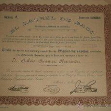 Coleccionismo Acciones Españolas: ACCION CERVEZAS EL LAUREL DE BACO MADRID 1924 CERVEZA. Lote 46403167