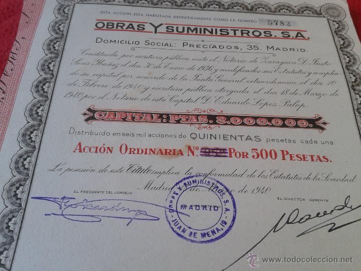 Coleccionismo Acciones Españolas: ANTIGUA ACCION DE 1940 OBRAS Y SUMINISTROS, S.A. DOMICILIO SOCIAL PRECIADOS, 35 MADRID ESCASA - Foto 2 - 46526688